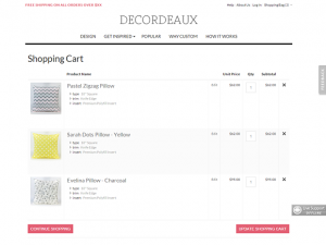 Custom pillows Magento ecommerce website
