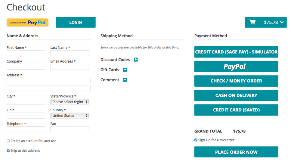 IWD one-page checkout