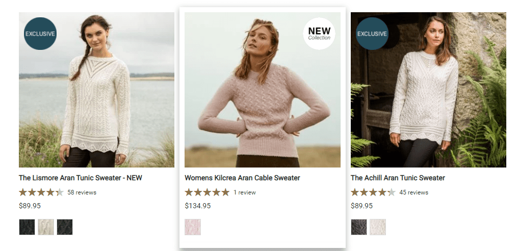 The Irish Store Product Color Swatches