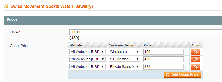 Magento site. Group price