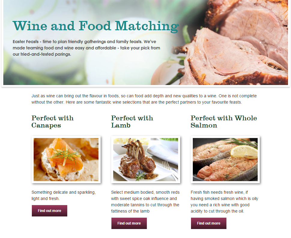 Wine and food matching feature