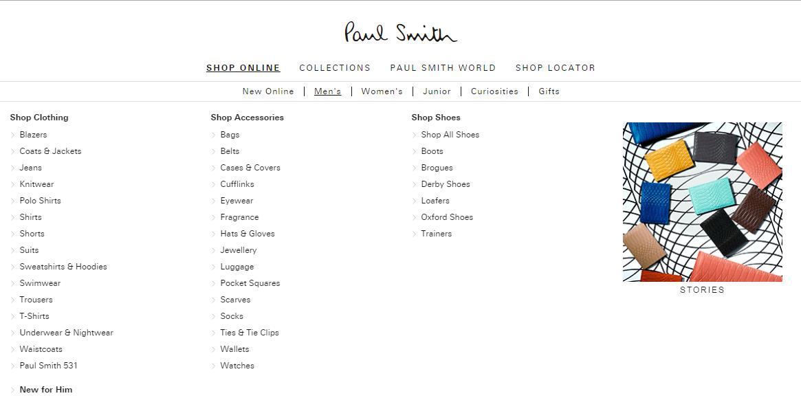 Mega menu Paul Smith