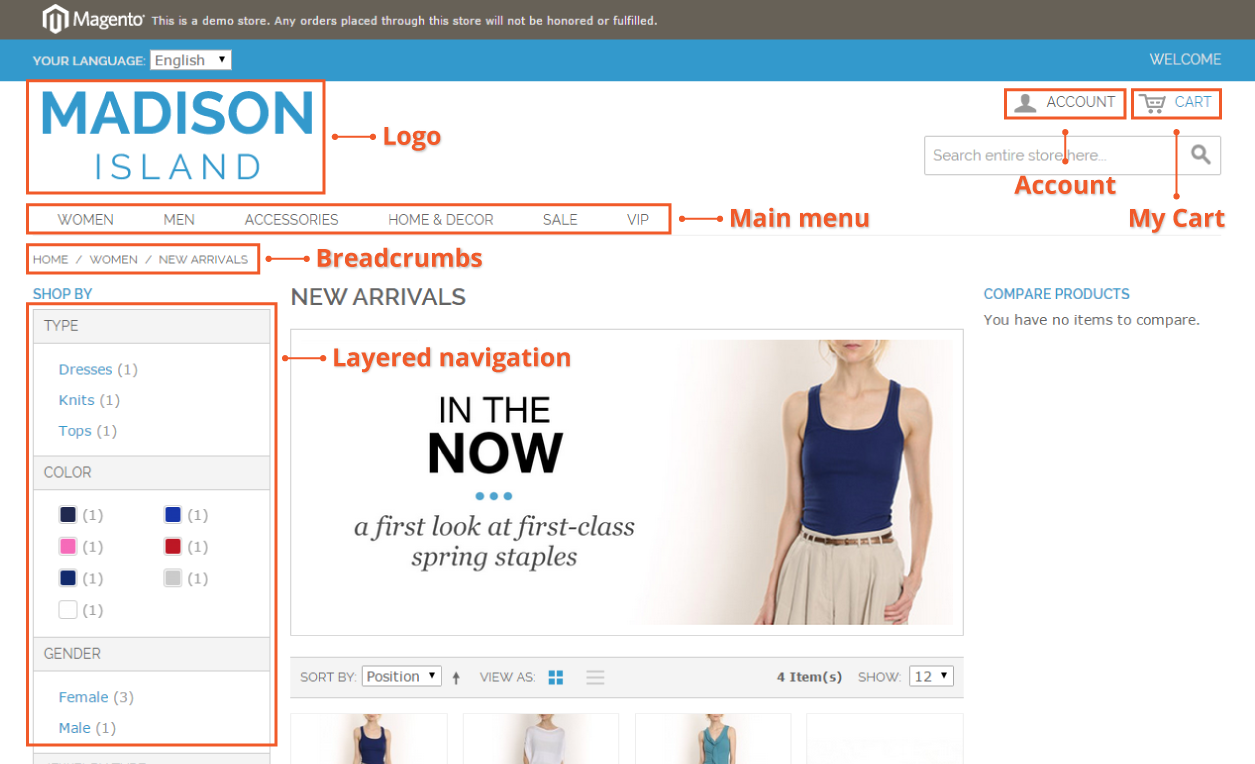 Navigation on the category page