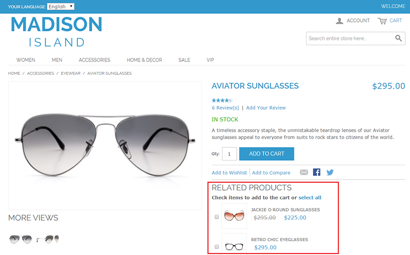 Related products on the product page