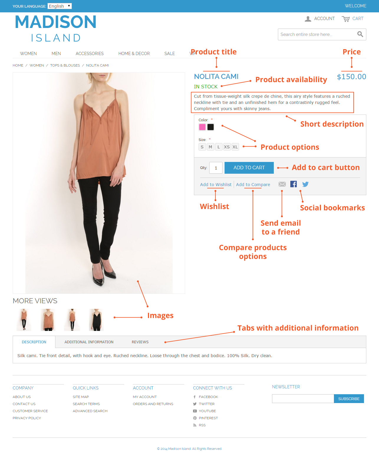 Product page in Magento