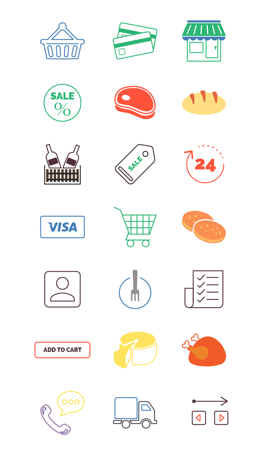 food store icons in color
