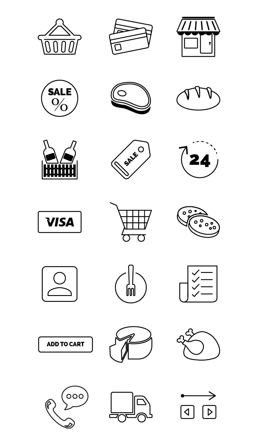 food store icons black/white