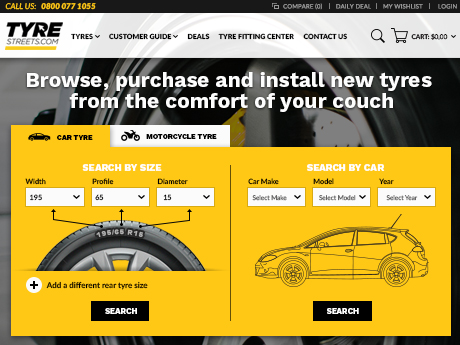 Tyre ecommerce site on Magento