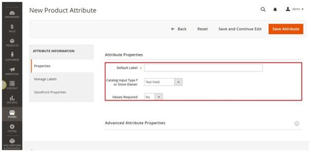 Attribute properties
