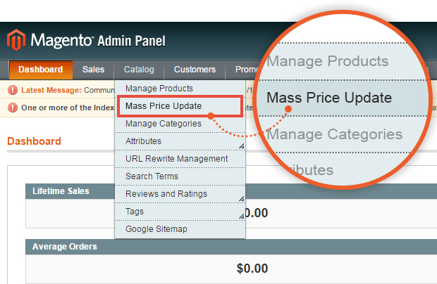 Mass Price Update Tab