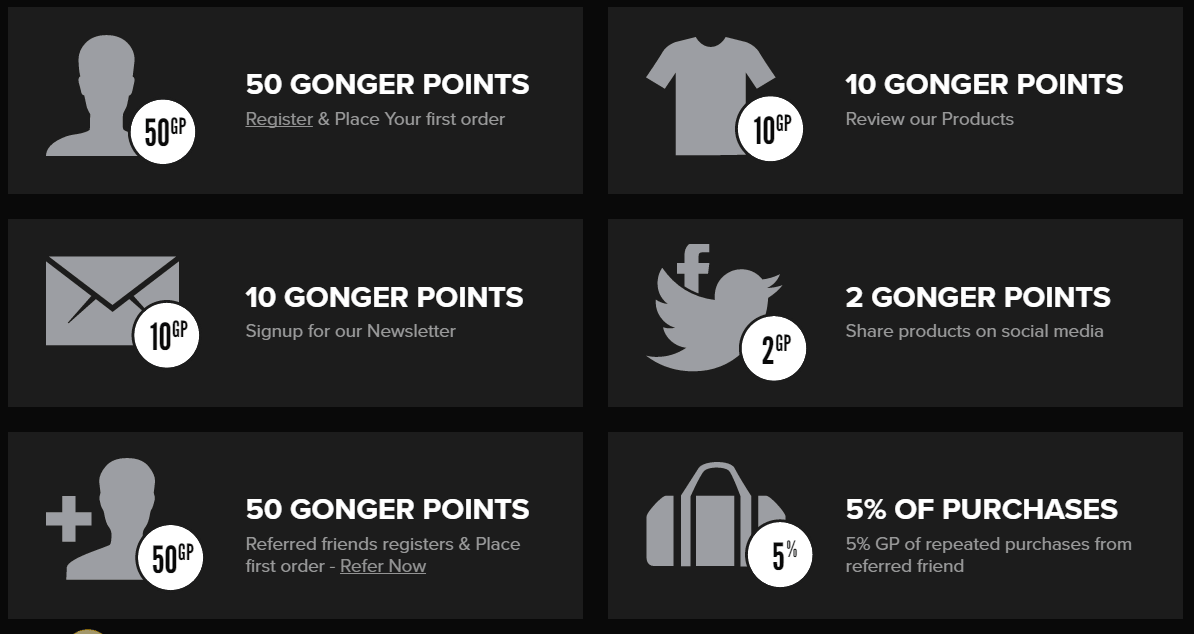 Gongshow Gear Loyalty Programs