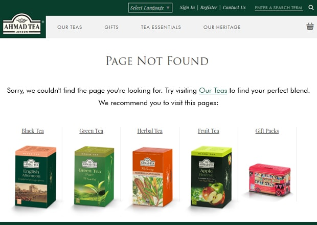 Product offerings on 404 page