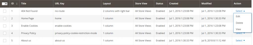 Magento 2 Select menu