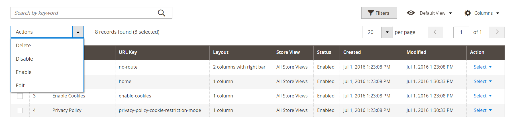 How to manage Magento 2 CMS pages in the admin panel?