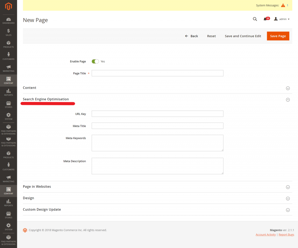 Magento 2 Search Engine Optimisation section