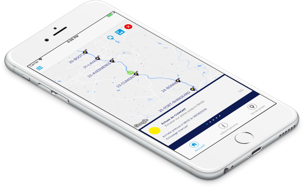 Route management and alerts of river navigation app