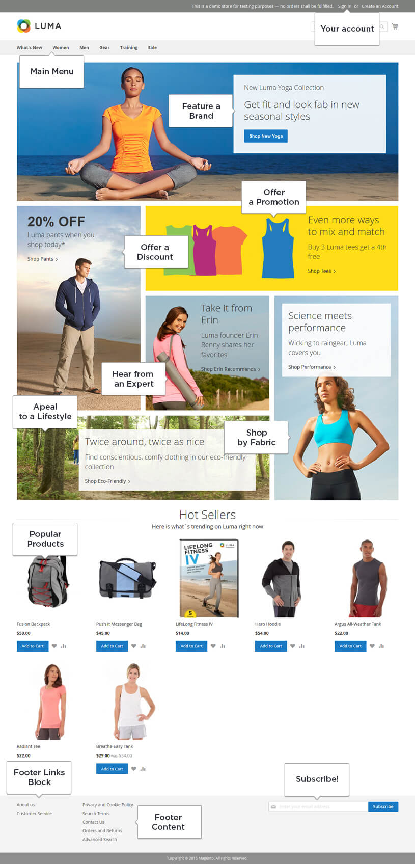 Luma Magento 2 default homepage