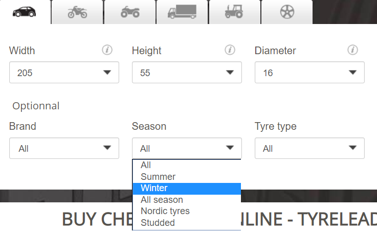 Search by season Magento feature