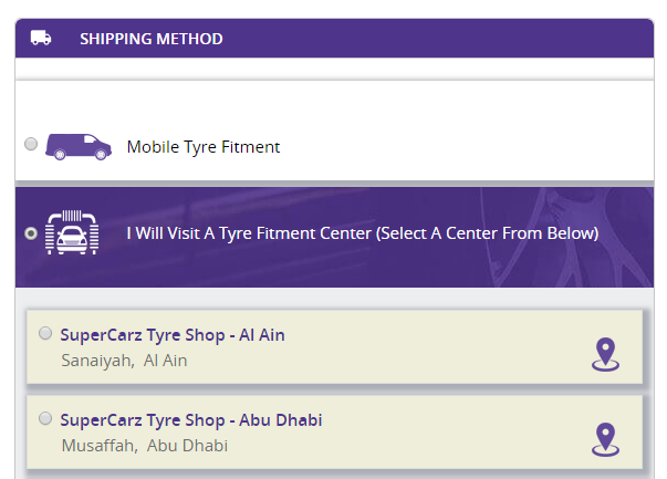 shipping method on Magento tires store