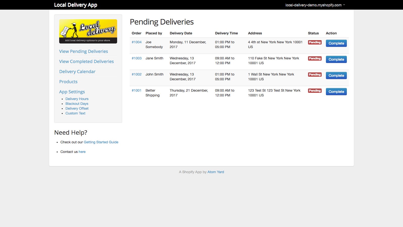 Local deliveries in the Shopify admin panel