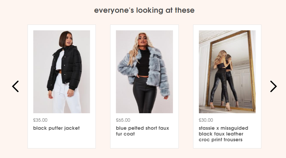 Homepage carousel on the Missguided website