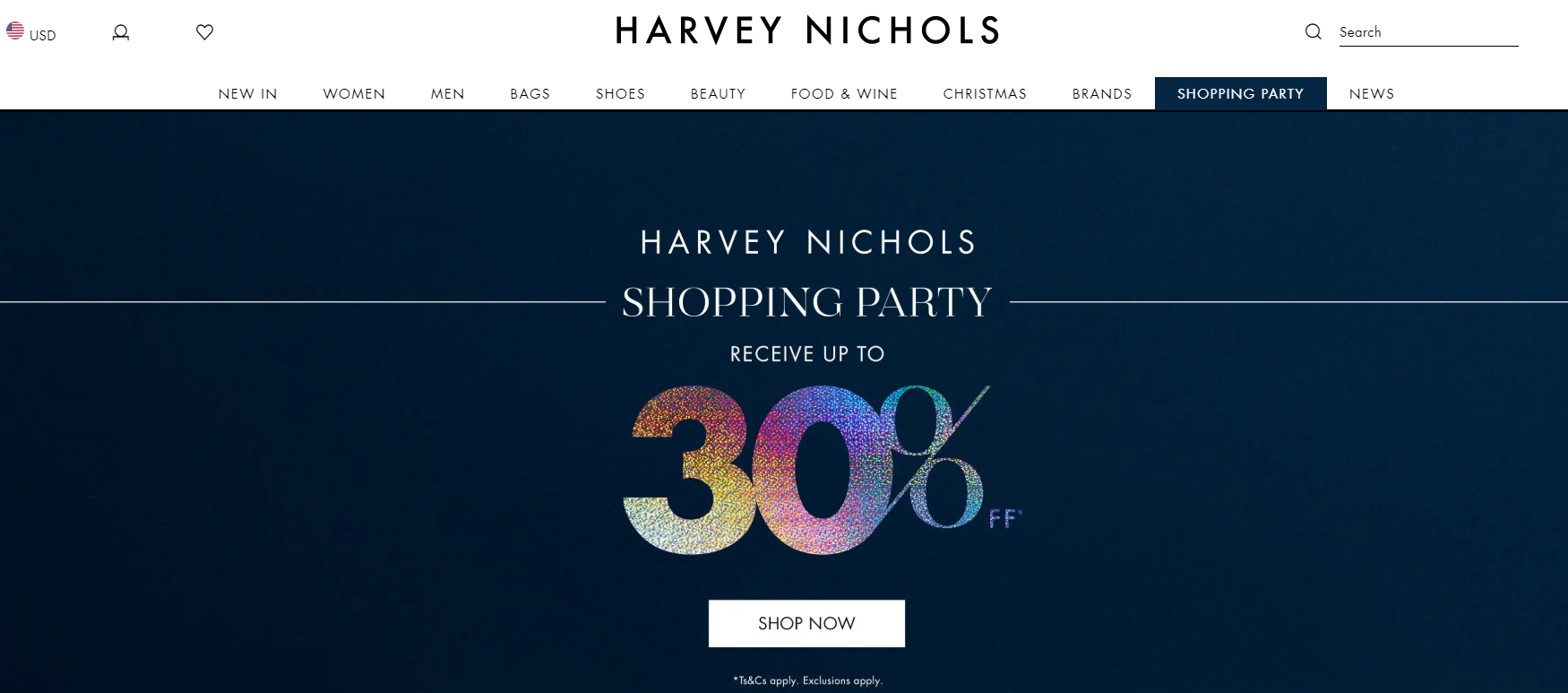 Sale announcement on the top of the homepage on the Harvey Nichols website