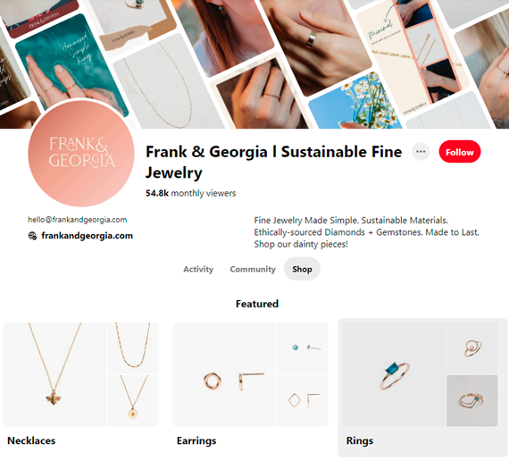 Frank & Georgia selling on Pinterest