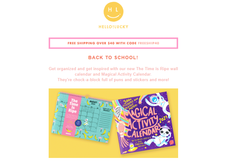 Hello!Lucky back to school email