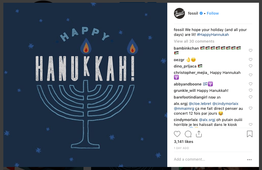 Fossil Hanukkah social media post