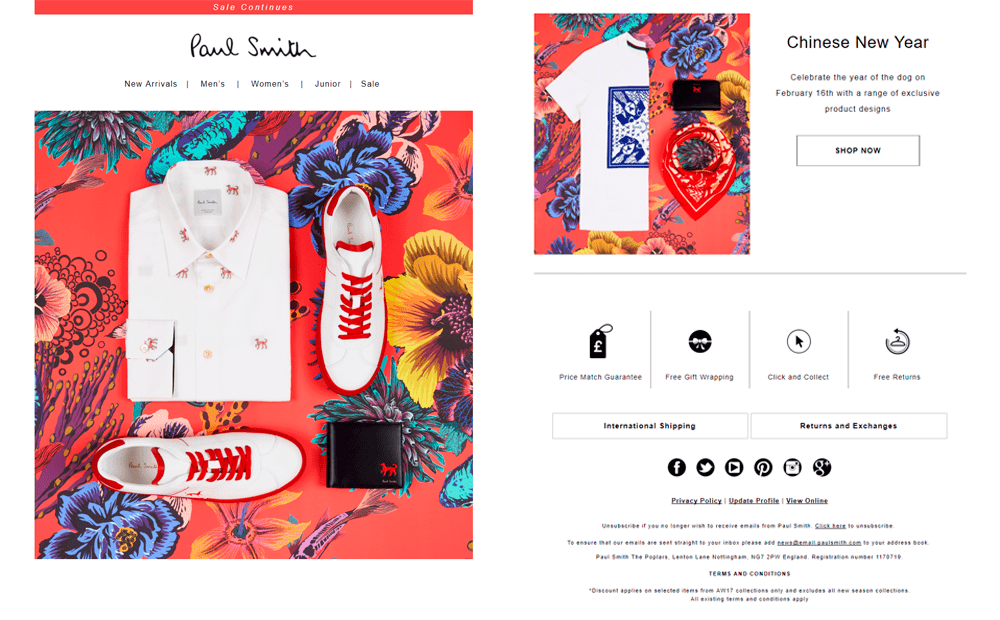 Paul Smith Chinese New Year email