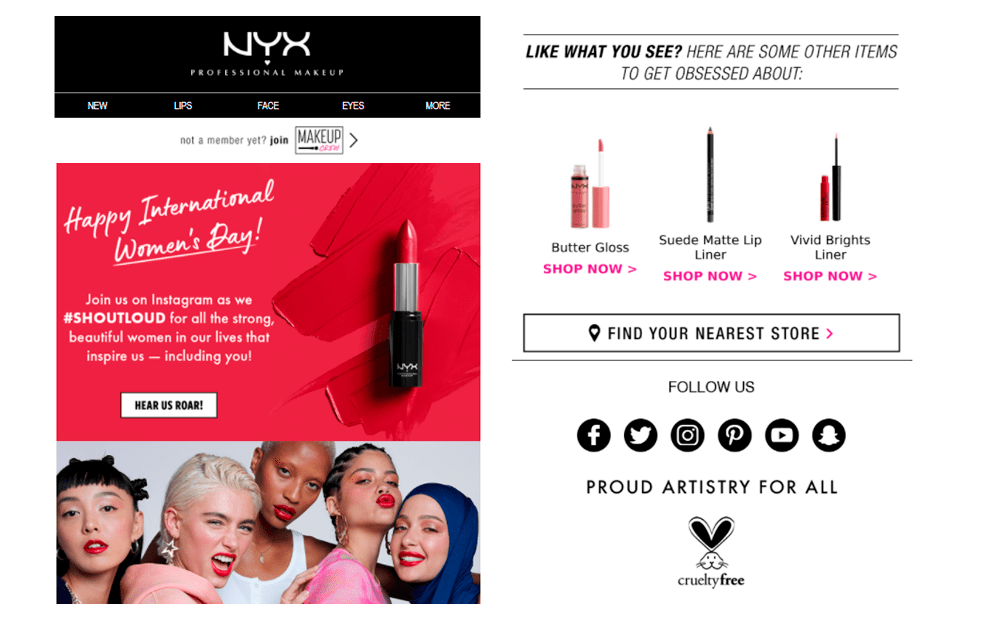 Nyx Cosmetics Women's Day email