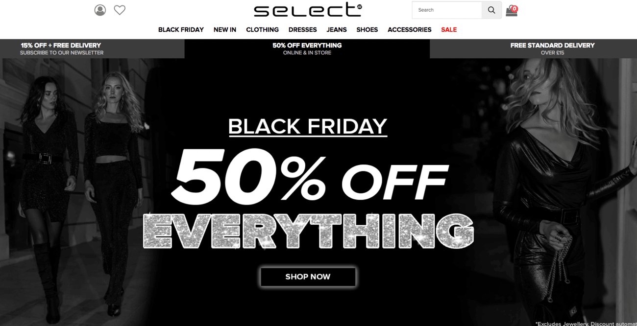 Select Black Friday homepage banner