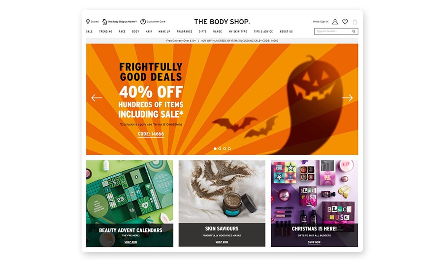 The Body Shop Halloween homepage banner
