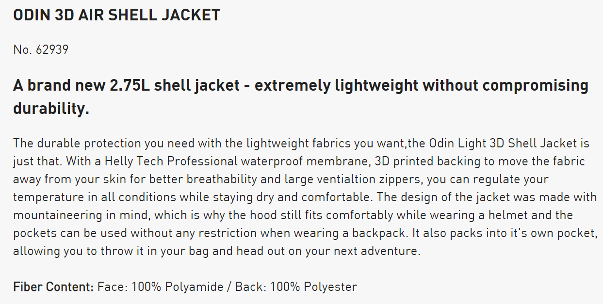 Helly Hansen ODIN 3D AIR SHELL JACKET product description