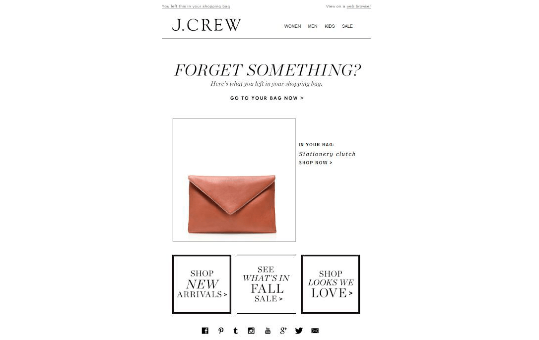 J.Crew cart abandoned newsletter
